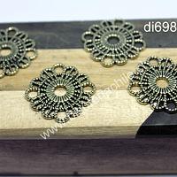 Dije dorado con diseño,  26 mm de diámetro, set de 4 unidades