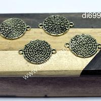 Dije dorado doble conexión, 19 mm de diámetro, set de 4 unidades