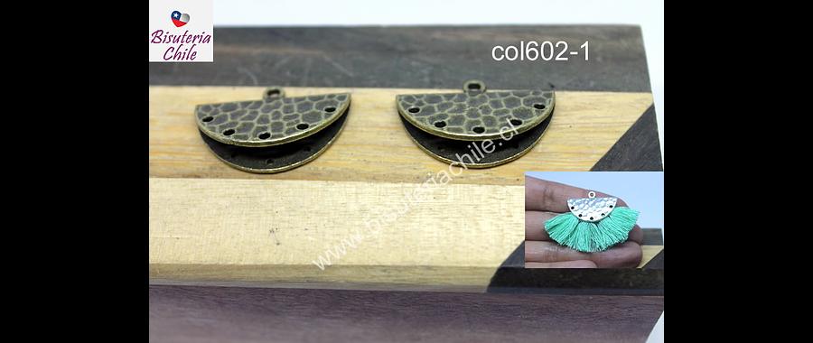 Base de aro envejecido especial para borlas, 26 x 15 mm, por par,, (no incluye borlas)