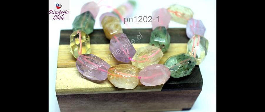 Mix de piedra facetada, cuarzo rosado, citrino, amatista, prehnita, 19 x 12 mm aprox,  set de 9 piedras