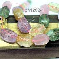 Mix de piedra facetada, cuarzo rosado, citrino, amatista, prehnita, 19 x 12 mm aprox,  set de 8 piedras