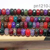 Agata rondell multicolor de 10 x 6 mm, tira de 30 piedras aprox