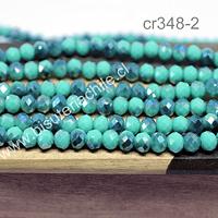 cristal chino facetado de 6 mm en colores menta y verde oscuro tornasol, tira de 98 cristales aprox.
