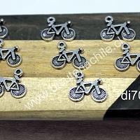 Dije plateado en forma de bicicleta, 16 x 11 mm, set de 8 unidades