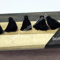 Mini borla color negro, 16 mm de largo, set de 5 unidades