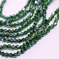 Cristal tupi de 4 mm, en tono verde, tira de 75 cristales