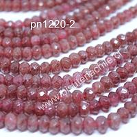Opalo rosa rondell facetado de 6 mm, tira de 45 piedras