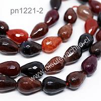 Agata gota facetada en tonos tierra, 12 mm de largo x 10 mm de ancho, set de 13 piedras