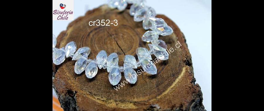 cristal en forma de gota, facetado color transparentel, 12 mm de largo por 6 mm de ancho, set de 10 unidades