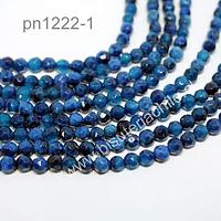 agata de 4 mm en tonos azules, tira de 90 piedras