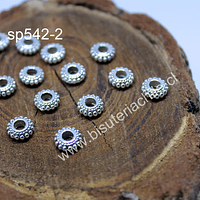 Separador plateado, 7 mm de diámetro, 3 mm de ancho, agujero de 3 mm, set de 14 unidades
