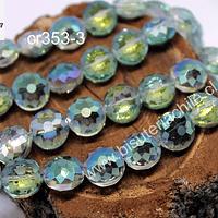 Cristal facetado especial en color tornasol, 12 x 7 mm, tira de 10 unidades