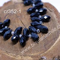 cristal en forma de gota, facetado color negro, 12 mm de largo por 6 mm de ancho, set de 10 unidades