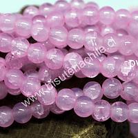 Perla de vidrio en color rosado craquelado, de 8 mm, tira de 100 unidades aprox.