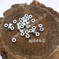 Separador plateado, 5 x 3 mm, agujero de 1,5 mm. set de 30 unidades