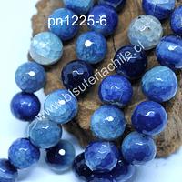 Agata 14 mm en tonos celestes, azules, tira de 13 unidades