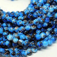 perla de vidrio en tonos azules, de 6 mm, tira de 130 perlas aprox.