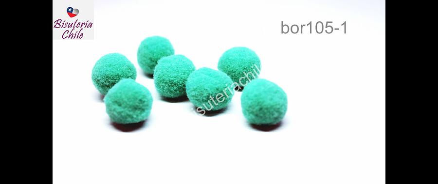 Borla pompón color jade de 15 mm. set de 7 unidades