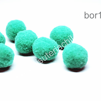 Borla pompón color jade de 15 mm. set de 7 unidades