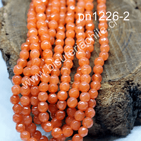 agata facetada de 4 mm, color naranja, tira de 90 piedras aprox