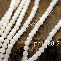 Agatas, Agata facetada de 4 mm, color crema, tira de 90 piedras aprox