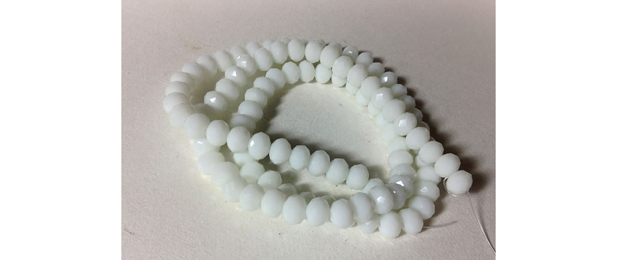 Cristal chino facetado blanco de 6 mm de diámetro por 5 mm de ancho tira de 98 unidades