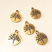 Dije dorado árbol de la vida 15 mm de diámetro set de 5 unidades