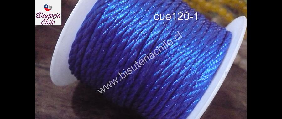 Hilo trenzado 3 mm en color azul, rollo de 23 metros