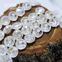 Cristal facetado especial en color blanco transparente, 12 x 7 mm, tira de 10 unidades