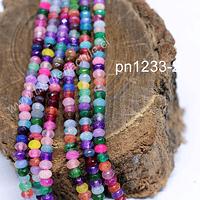 Agata rondell multicolor de 4 mm, tira de 130 piedras aprox
