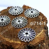 Dije plateado con diseño flor, 22 mm de diámetro, ser de 5 unidades