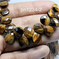 Ojo de tigre en forma de gota facetada, 12 mm de largo x 10 mm de ancho, tira de 14 piedras
