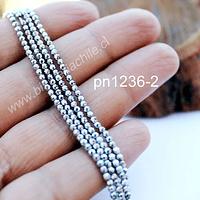 hematite facetada plateada de 2 mm, tira de 190 piedras aprox