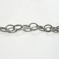 Cadena plateada eslabón de 7 mm de largo por 6 mm de ancho