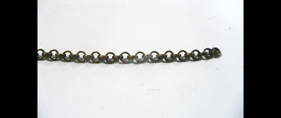 Cadenas, cadena envejecida eslabón de 3 mm de largo por 3 mm de ancho