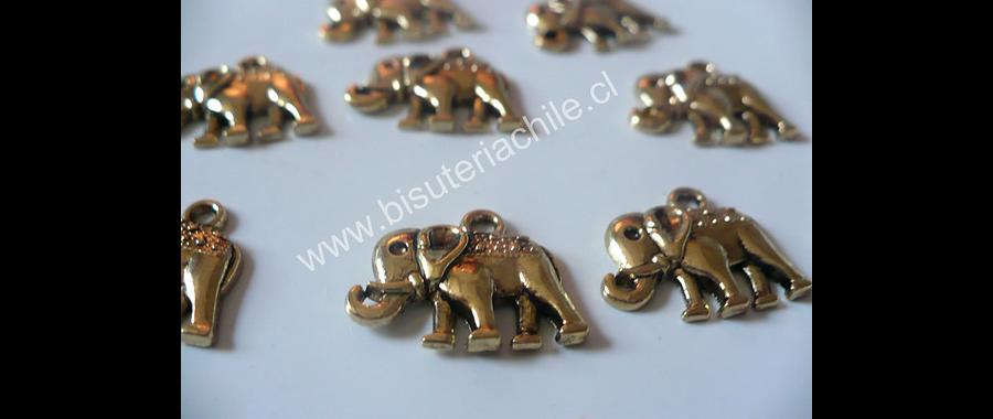Dije colgante elefante dorado 12 mm de ancho y 9 mm de alto set de 7 unidades