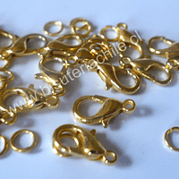 Gancho mosqueton dorado con argollas 13 mm de largo por 8 mm de ancho set de 15 unidades