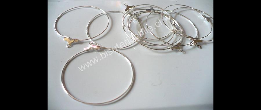 Base aro argolla plateada 40 mm de diámetro set de 5 pares