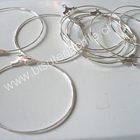 Base aro argolla plateada 35 mm de diámetro set de 5 pares