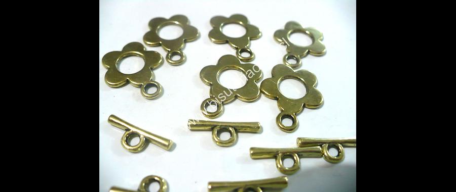 Broche timón dorado  en forma de flor 16 mm de diámetro y 23 mm con el gancho set de 5 unidades