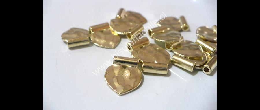 Colgante en forma de corazón dorado 11 mm de ancho por 15 mm de alto set de 14 unidades