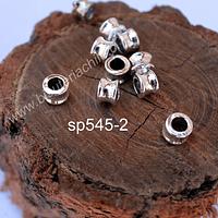 Separador plateado, 6 mm de alto, 8 mm de ancho y agujero de 5 mm, set de 10  unidades