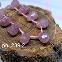 Opalo rosa en forma de gota facetado, 14mm de largo x 11 mm de ancho, set de 6 unidades
