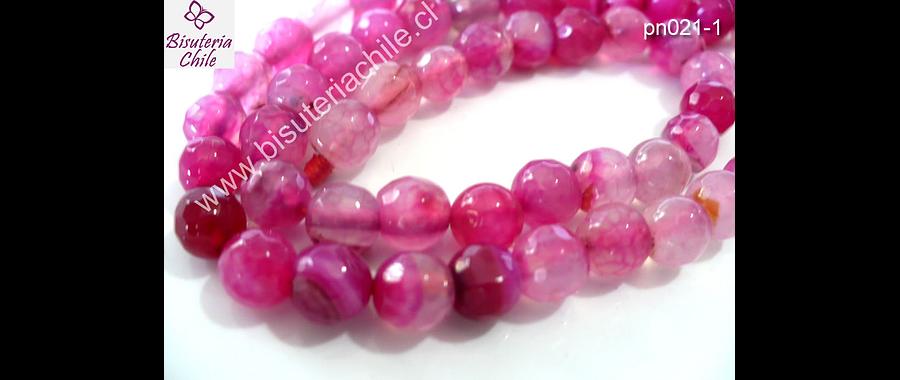 Agata facetada en tonalidades rosados   6 mm de diámetro tira de 64 piedras aprox.