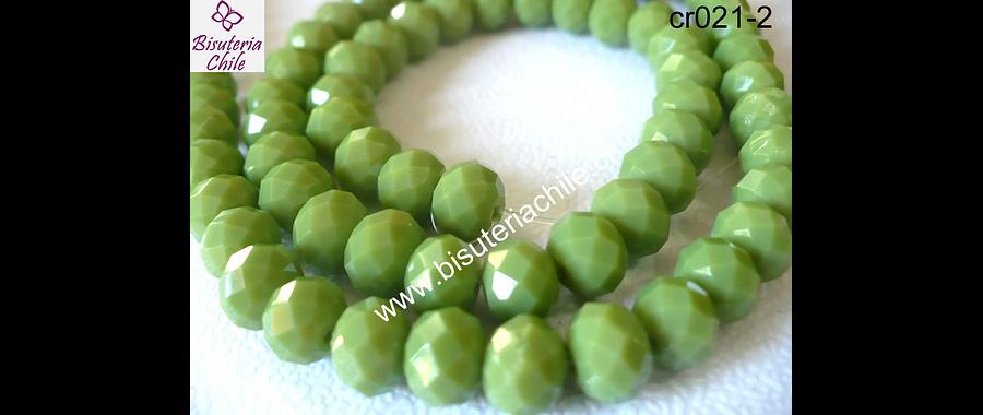 Cristal verde claro   8 mm de ancho por x 6 mm 35 unidades