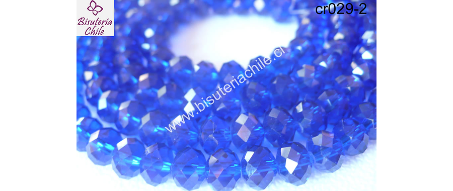 Cristal azul   8 mm de ancho por x 6 mm 70 unidades