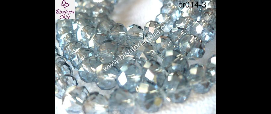 Cristal chino facetado gris brillante tornasol 8 mm de diámetro por 6 mm de largo set de 70 unidades