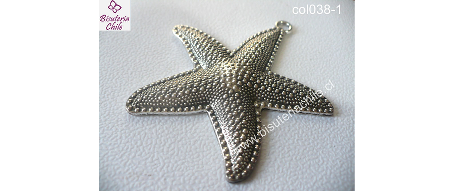 Colgante plateado en forma de estrella de mar 62 mm de ancho y 67 mm de largo