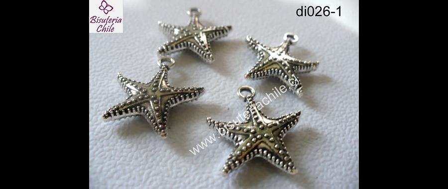 Dije plateado estrella de mar 21 mm de ancho  y 25 mm de largo set de 4 unidades