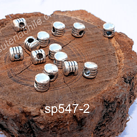 Separador plateado, 6 x 6 mm, agujero de 3 mm, set de 15 unidades